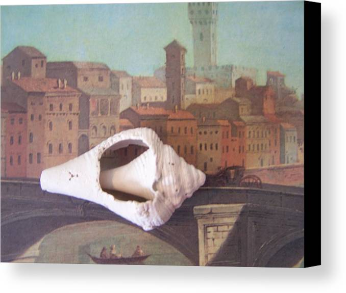 Shells Canvas Print featuring the sculpture Bridge Over Florence by Geraldine Liquidano