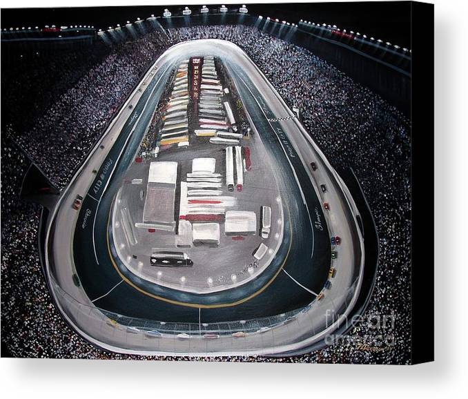 Racing Canvas Print featuring the painting Bristol Motor Speedway Racing The Way It Ought To Be by Patricia L Davidson