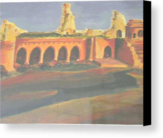 Castle Canvas Print featuring the painting Broken Castle by Rajendra Yadav