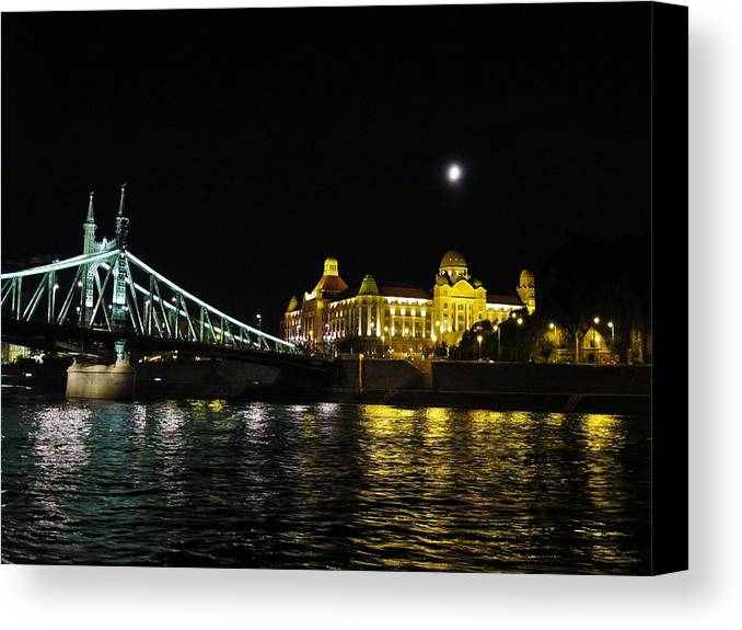 Night Canvas Print featuring the photograph Budapest On The Danube At Night by Angela Angermaier