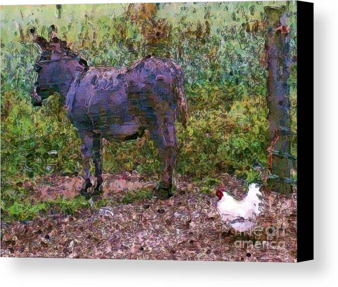 Buddies Take A Walk Canvas Print featuring the painting Buddies Take A Walk by Methune Hively