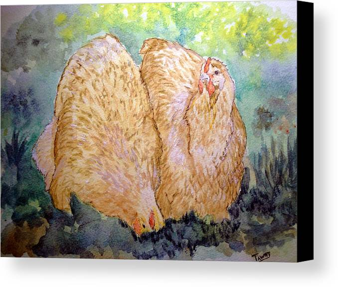 Orpington Canvas Print featuring the painting Buff Orpington Hens In The Garden by Susan Baker