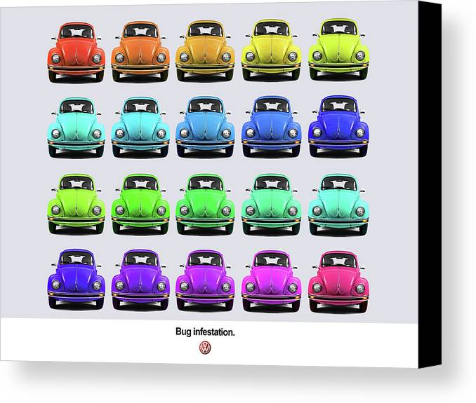 Volkswagen Beetle Canvas Print featuring the photograph Bug Infestation. by Mark Rogan