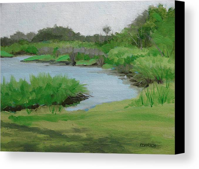 Landscape Canvas Print featuring the painting Bulow Woods Creek by Robert Rohrich