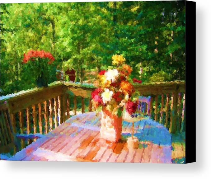 Canvas Print featuring the mixed media Bumble Deck Flowers by Jonathan Galente