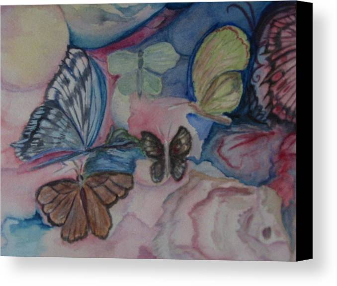 Watercolor Canvas Print featuring the painting Butterflies by Marian Hebert