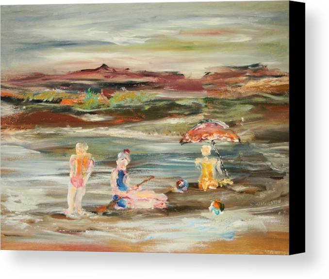 Lanscape Canvas Print featuring the painting By The Beach by Edward Wolverton