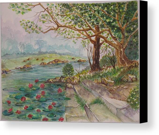 Landscape Canvas Print featuring the painting By The Brook by Swarna Sitaraman