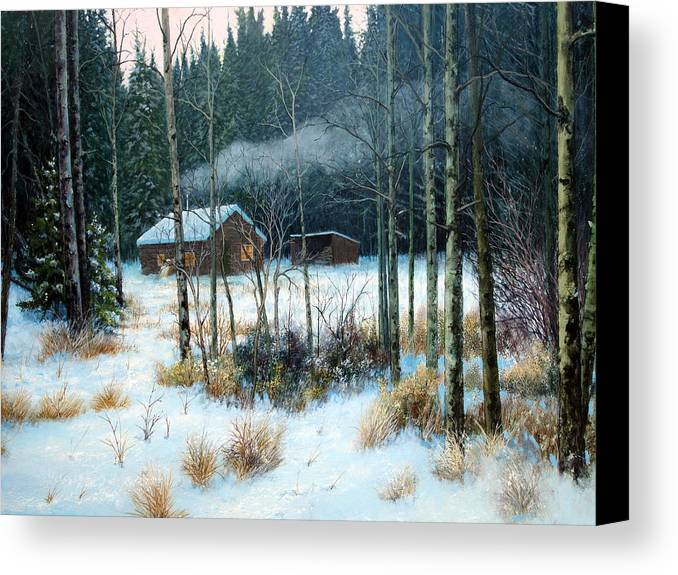 Cabin Canvas Print featuring the painting Cabin In The Woods by E Colin Williams ARCA