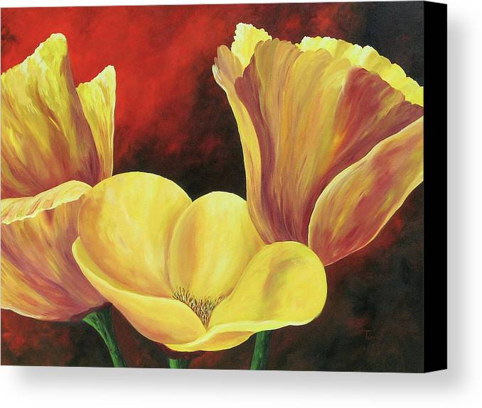 Poppies Canvas Print featuring the painting California Poppies Iv by Torrie Smiley