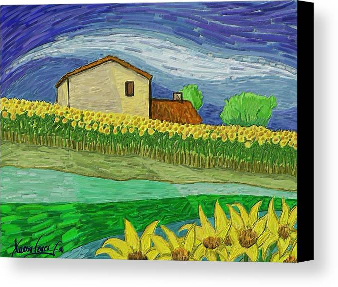 Figurative Canvas Print featuring the painting Camp De Girasols by Xavier Ferrer