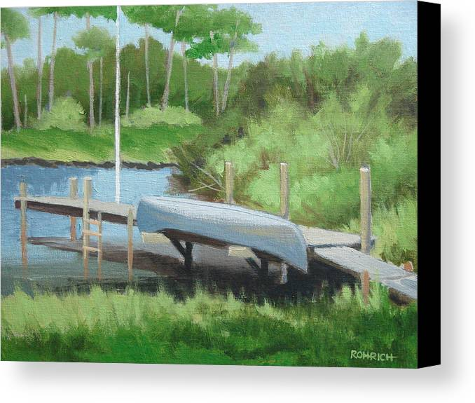 Canoe Canvas Print featuring the painting Canoe Dock by Robert Rohrich
