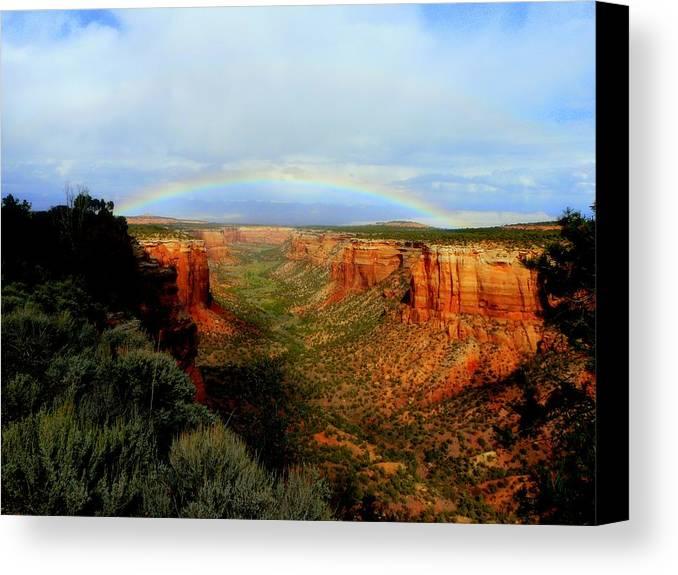 Rainbow Canvas Print featuring the photograph Canyon Rainbow by Ellen Leigh