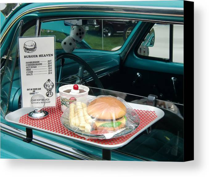 Vintage Cars Canvas Print featuring the photograph Car Hop Blues by Richard Mansfield
