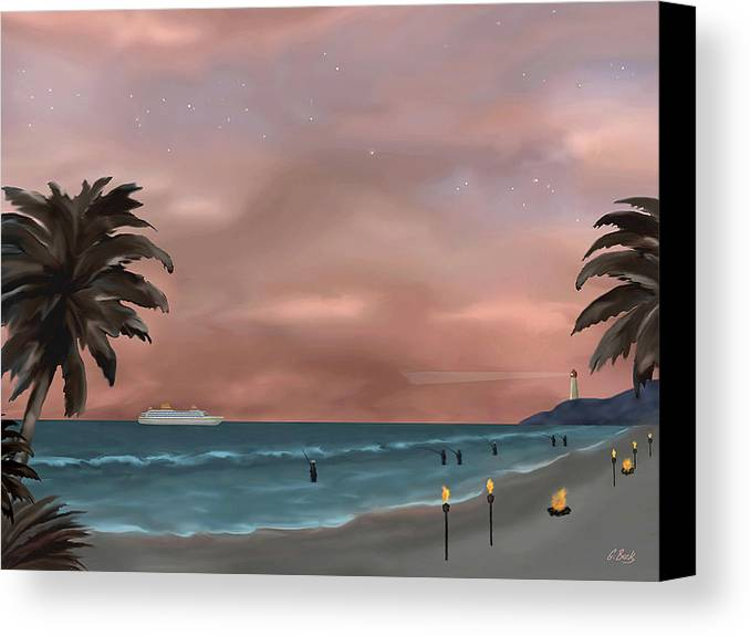Contemporary Tropical Seascape Sailing Fishing Island Lighthouse Nature Sunset Gordon Beck Canvas Print featuring the painting Caribbean Dreams by Gordon Beck