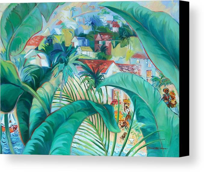 Caribbean Figures Canvas Print featuring the painting Caribbean Fantasy by Dianna Willman