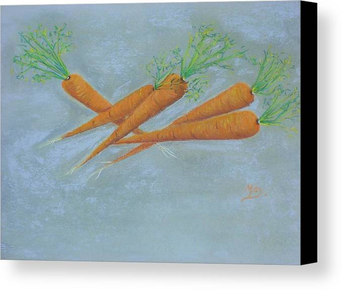 Vegetables Canvas Print featuring the painting Carrots by Murielle Hebert