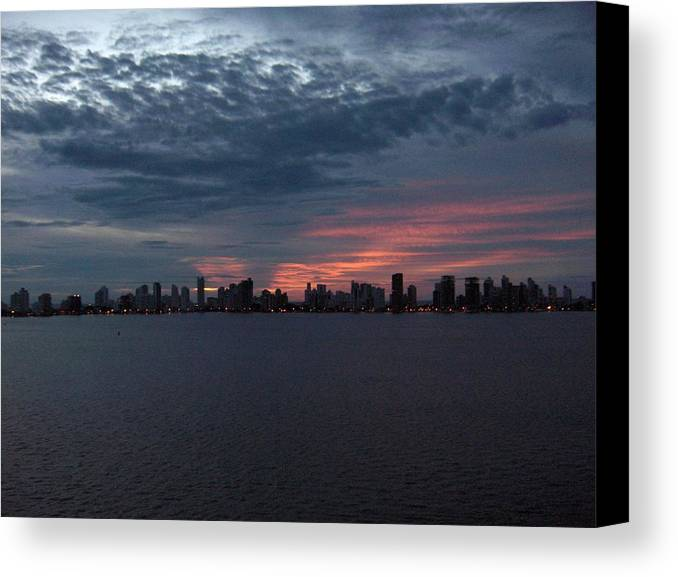 Cartagena Canvas Print featuring the photograph Cartagena Colombia At Sunset by Janet Hall