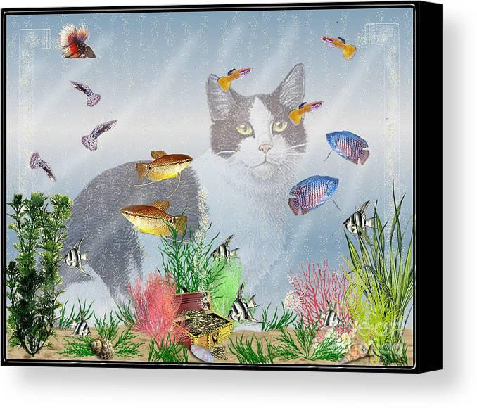 Fish Canvas Print featuring the digital art Cat Watching Fishtank by Terri Mills