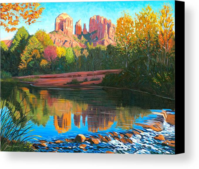 Oak Creek Canvas Print featuring the painting Cathedral Rock - Sedona by Steve Simon