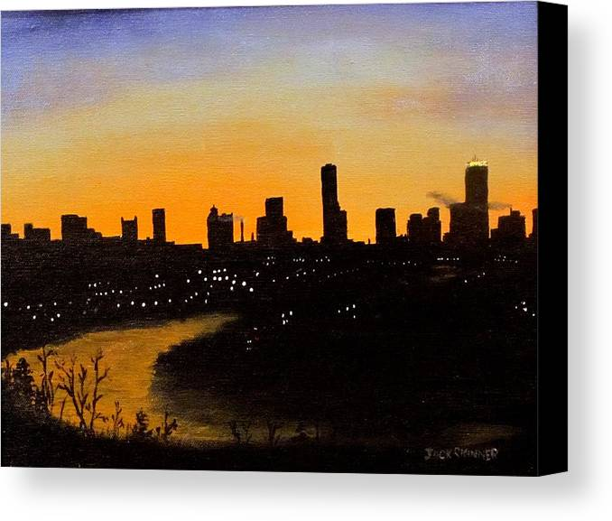 Cityscape Canvas Print featuring the painting Catherine's Sunrise by Jack Skinner