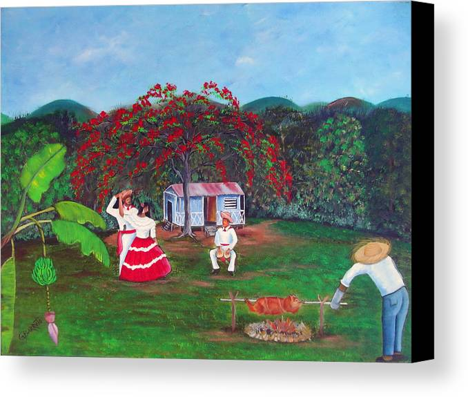 Puerto Rico Fiesta Canvas Print featuring the painting Celebration by Gloria E Barreto-Rodriguez