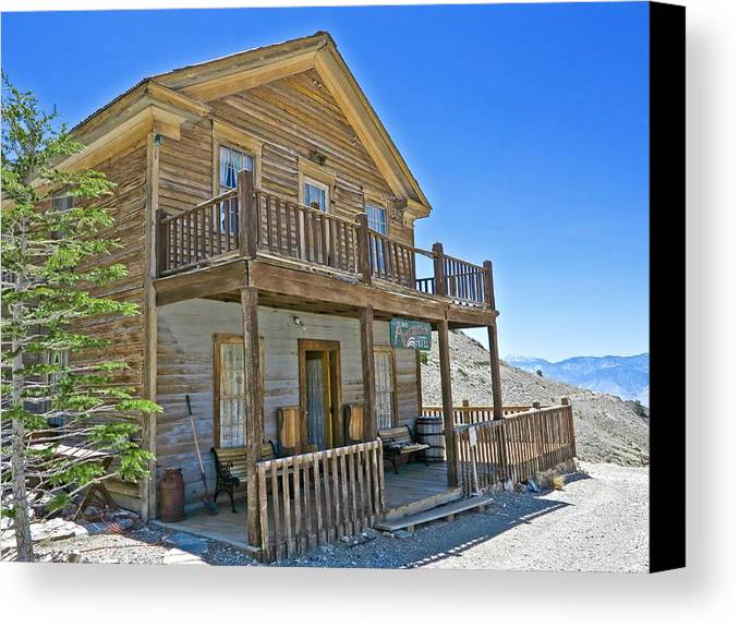 4x4 Canvas Print featuring the photograph Cerro Gordo Ghost Town Hotel by Backcountry Explorers
