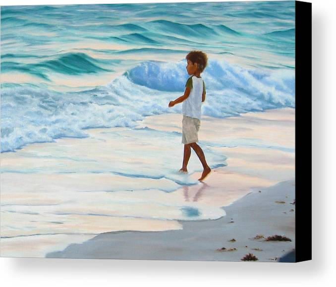 Child Canvas Print featuring the painting Chasing The Waves by Lea Novak