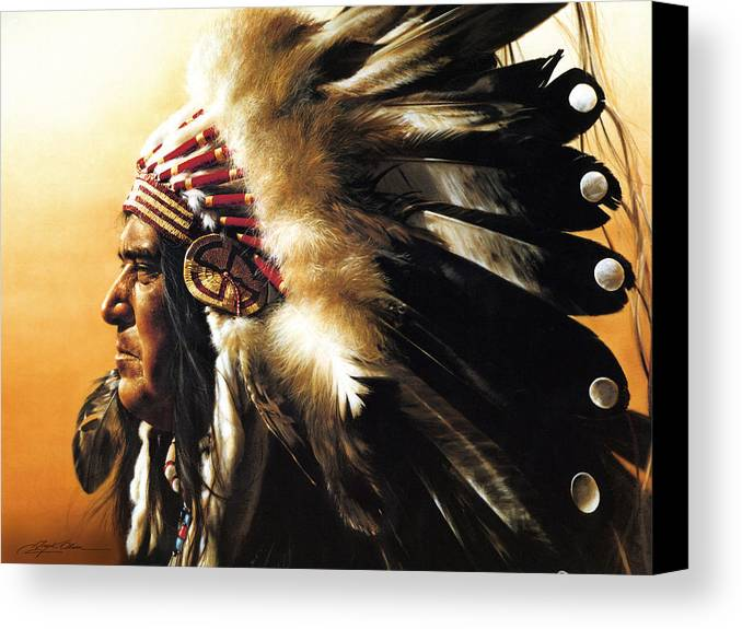Native American Canvas Print featuring the painting Chief by Greg Olsen