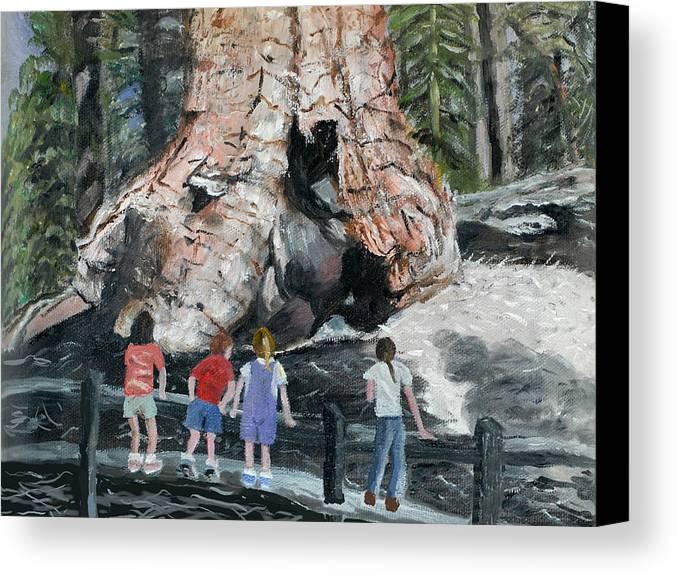 Children Canvas Print featuring the painting Children At Sequoia National Park by Quwatha Valentine