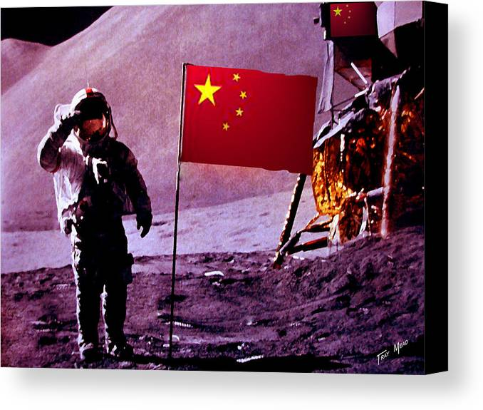 China Canvas Print featuring the painting China On The Moon by Tray Mead