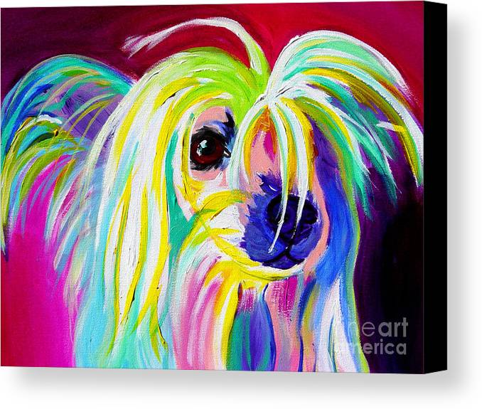 Dog Canvas Print featuring the painting Chinese Crested - Fancy Pants by Alicia VanNoy Call