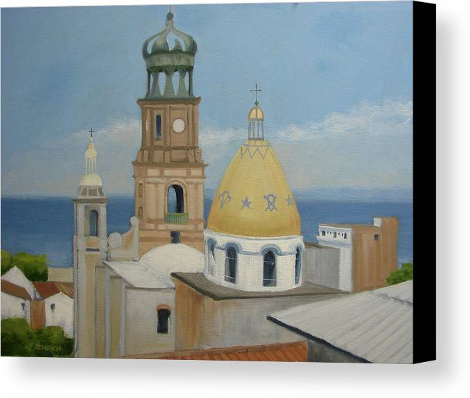 Mexico Canvas Print featuring the painting Church Of Gaudalupe by Robert Rohrich