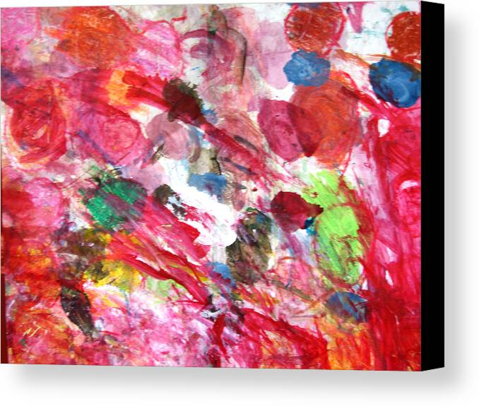 Abstract Canvas Print featuring the painting Circles by Kitty Hansen