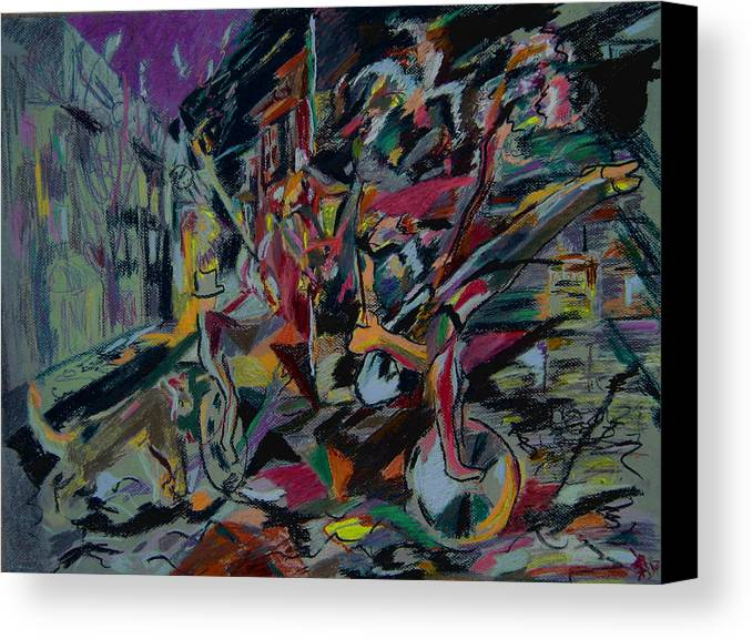 Fantasy Canvas Print featuring the painting Circus In The Town by Tadeush Zhakhovskyy