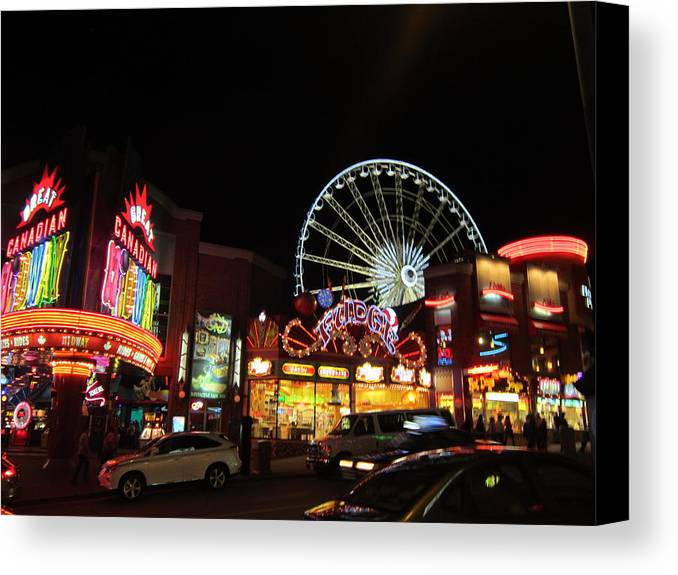 Amusement Canvas Print featuring the photograph Clifton Hill At Night by Abby Humphries