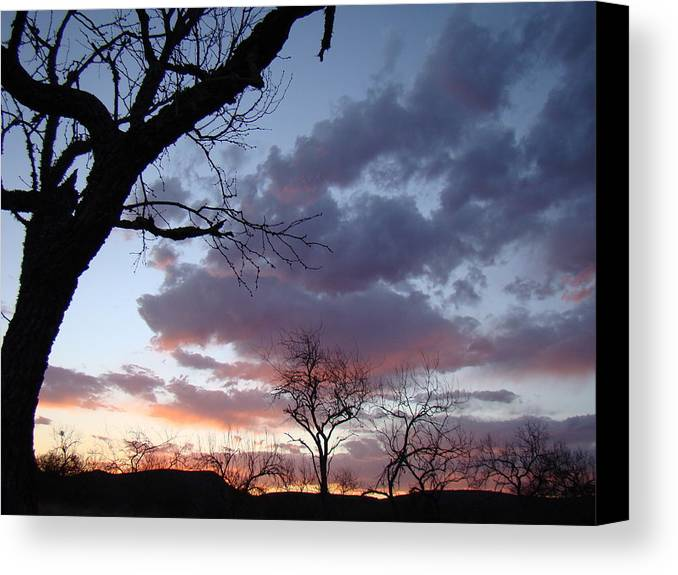 Sunset Canvas Print featuring the photograph Cloudy Sunset One by Ana Villaronga