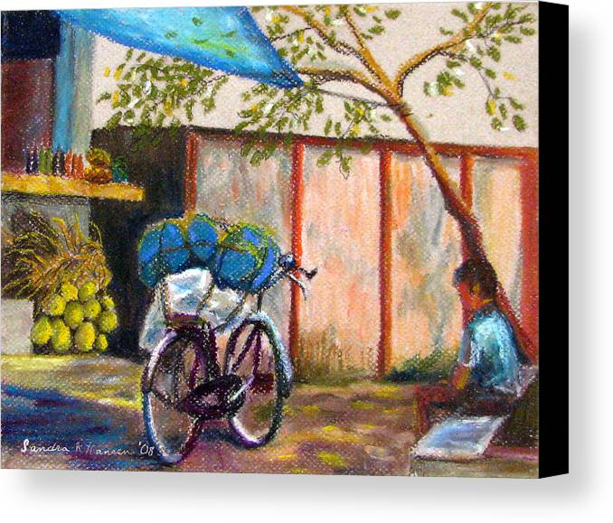 India Canvas Print featuring the painting Coconut Stand by Art Nomad Sandra Hansen