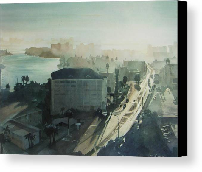 Aqua Canvas Print featuring the painting Cold Dawn On Gulf Boulevard by Elizabeth Carr