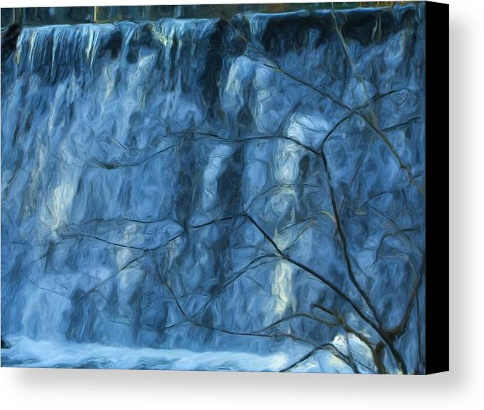 Canvas Print featuring the painting Cold Day Cold Water Fall  Winter In Ny by Jonathan Galente