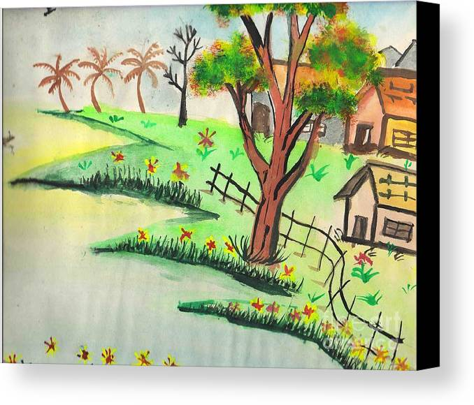 Beautiful Landscape Canvas Print featuring the painting Colored Landscape by Tanmay Singh