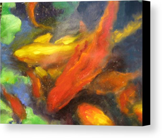 Koi Canvas Print featuring the painting Colorful Koi by Susan Jenkins