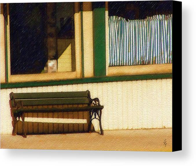 Bench Canvas Print featuring the photograph Come Sit A Spell by Sandy MacGowan