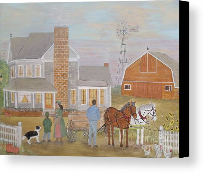 Farm Canvas Print featuring the painting Company - Thanksgiving Supper by Patti Lennox