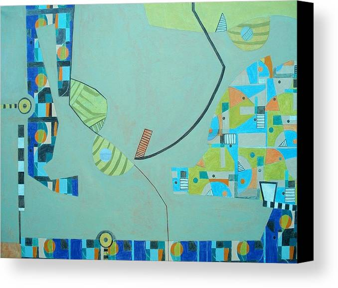 Abstract Canvas Print featuring the painting Composition II-07 by Maria Parmo