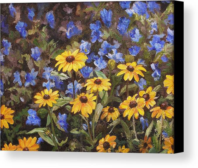 Blue Canvas Print featuring the painting Coneflowers In The Sun by Ann Caudle