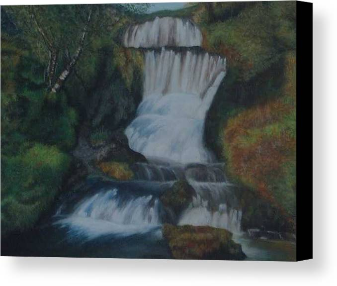 Waterfall Canvas Print featuring the painting Cool Waters by Nellie Visser
