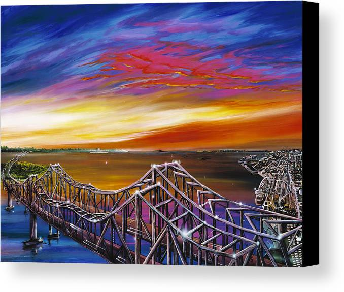 Clouds Canvas Print featuring the painting Cooper River Bridge by James Christopher Hill