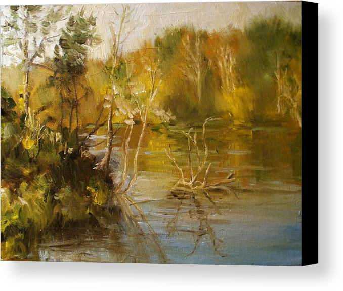 Alabama Canvas Print featuring the painting Coosa River In The Fall by Ann Caudle