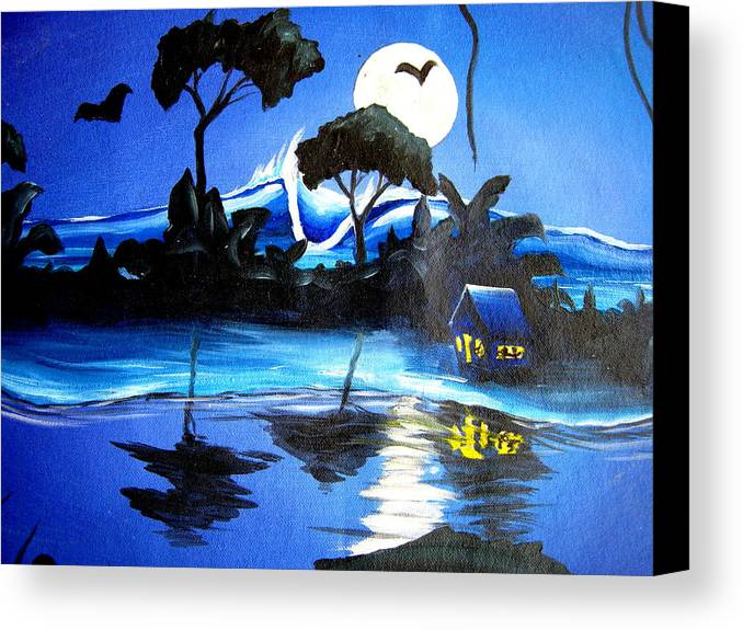 Surf Canvas Print featuring the painting Costarica Nightlife by Ronnie Jackson